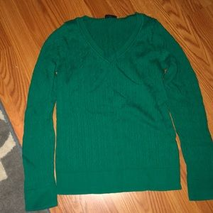 Talbots emerald green cable sweater